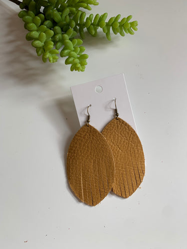 Large Leaf Tassel Leather Earrings