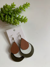 Load image into Gallery viewer, Layered Teardrop Leather Earrings