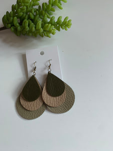 Layered Teardrop Leather Earrings