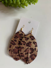 Load image into Gallery viewer, Large Leaf Tassel Leather Earrings