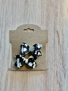 Black + White Floral Carly Bow Set