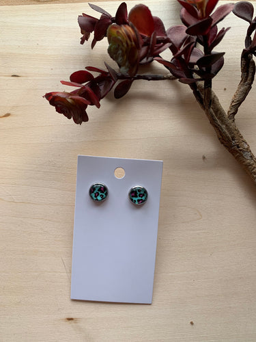 Teal + Pink Leopard Stud Earrings