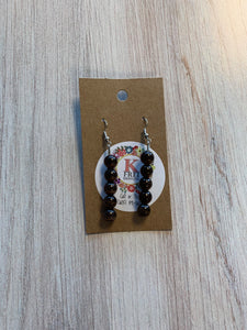 Dark Brown Hand Beaded Earrings
