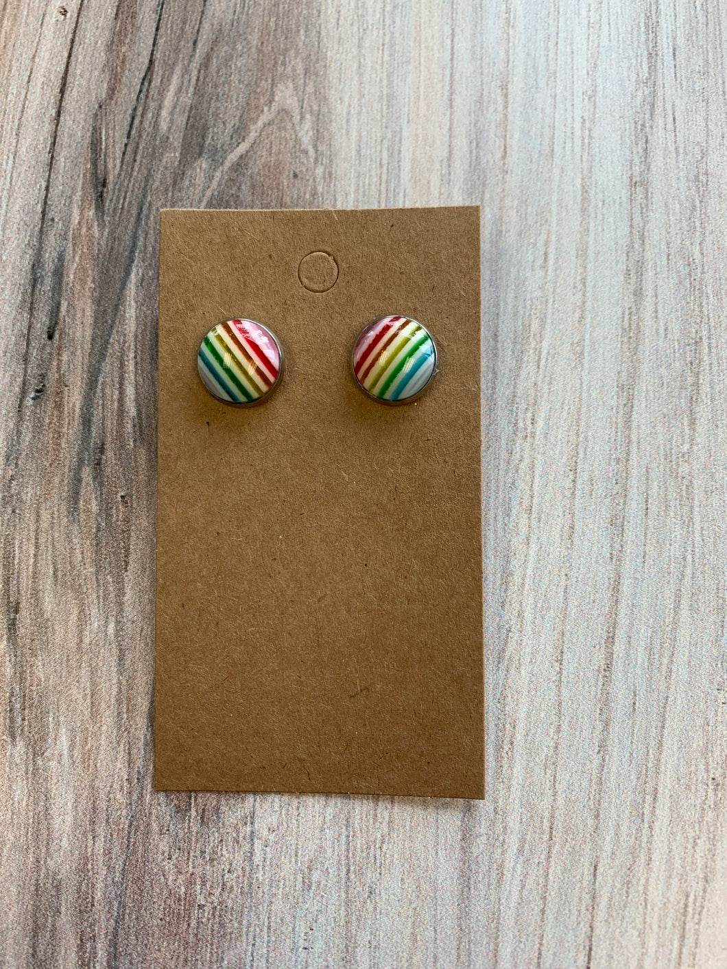 Rainbow Striped Stud Earrings