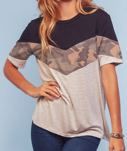 Camo Color Block Stripe Top