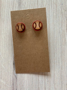 Wood Stud Earrings