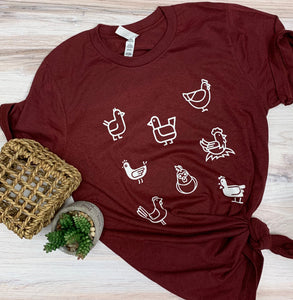 Chicken Collage Graphic Tee