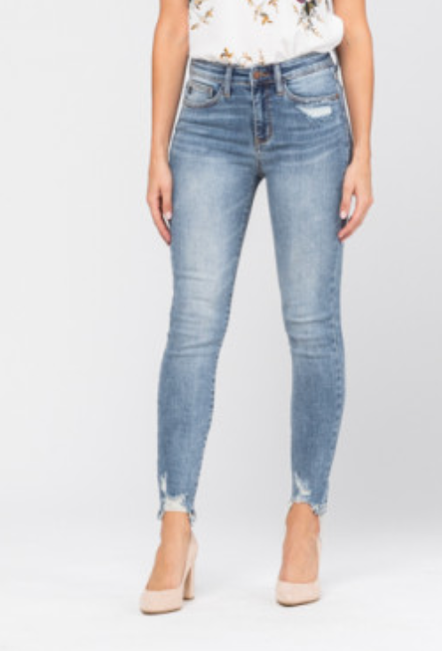 Judy Blue Destroyed Hem Non-Distressed Skinny Jeans