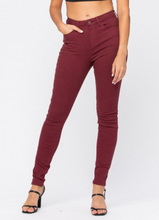 Load image into Gallery viewer, High Waisted Wine Colored Skinny Jeans