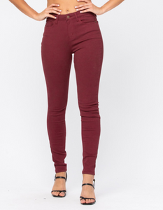 High Waisted Wine Colored Skinny Jeans