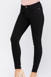 Mid-Rise Non Distressed Black Skinny Jeans