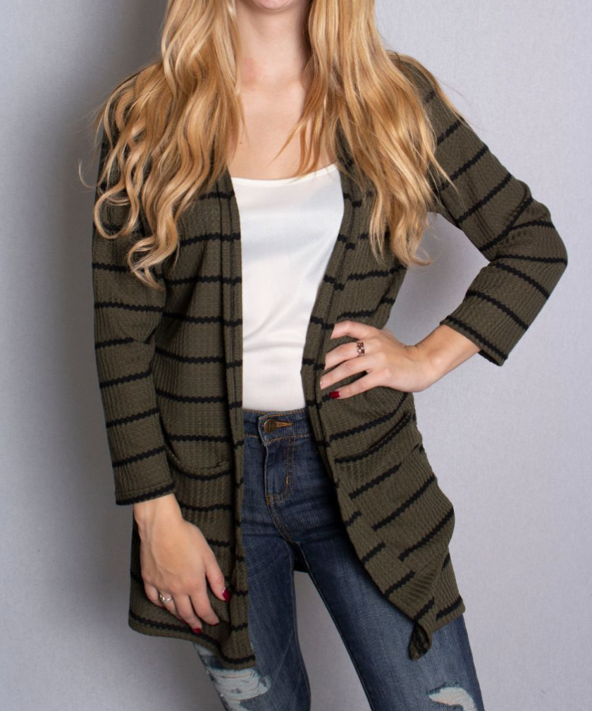 Waffle Knit Cardigan With Pockets