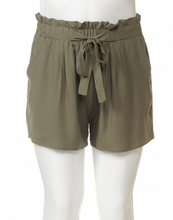 Load image into Gallery viewer, Plus Size Tie Front Paper Bag Shorts