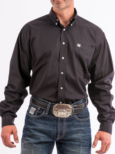 Cinch Solid Black Button Down Western Shirt