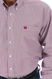 Cinch Burgundy Stripe Button Down Shirt