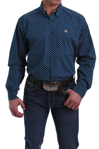 Cinch Men's Navy Diamond Print Button-Down Shirt