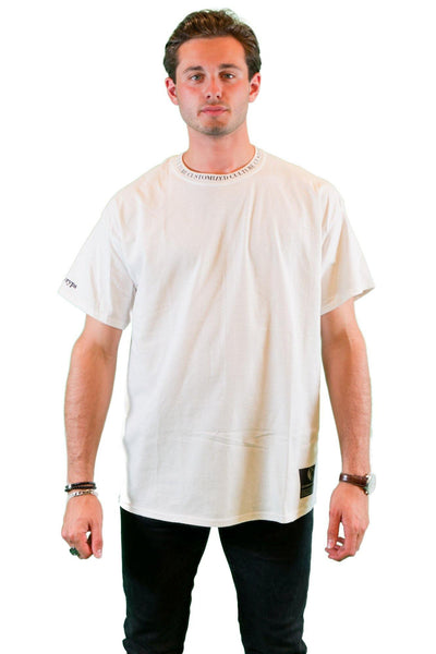 customized culture pure white halo collar oversized t-shirt