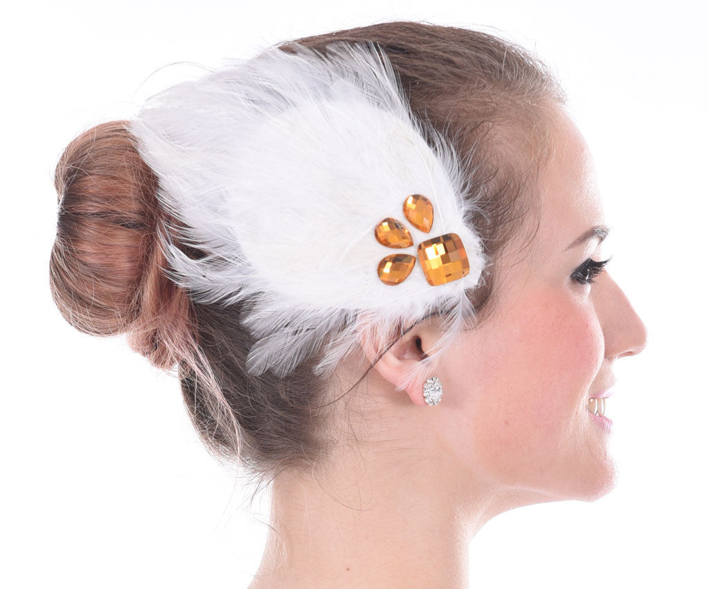 Floaty Feather Hairpiece, White