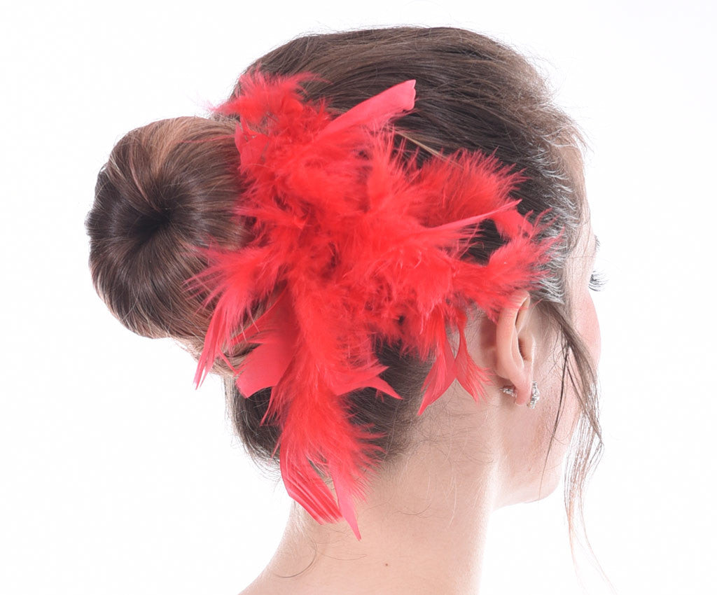 Fun Feathers Hairpiece, Red