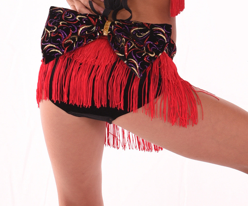 Showtime Big Bow Fringe Panty, Red