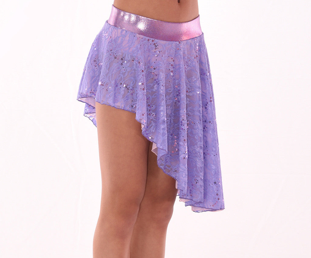 Sweetheart Asymmetric Sequin Lace Skirt