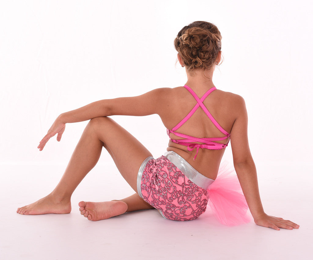Pretty Pop Tulle Poof Shorts with Glitter Glaze Elastic-Tie Bra, Back