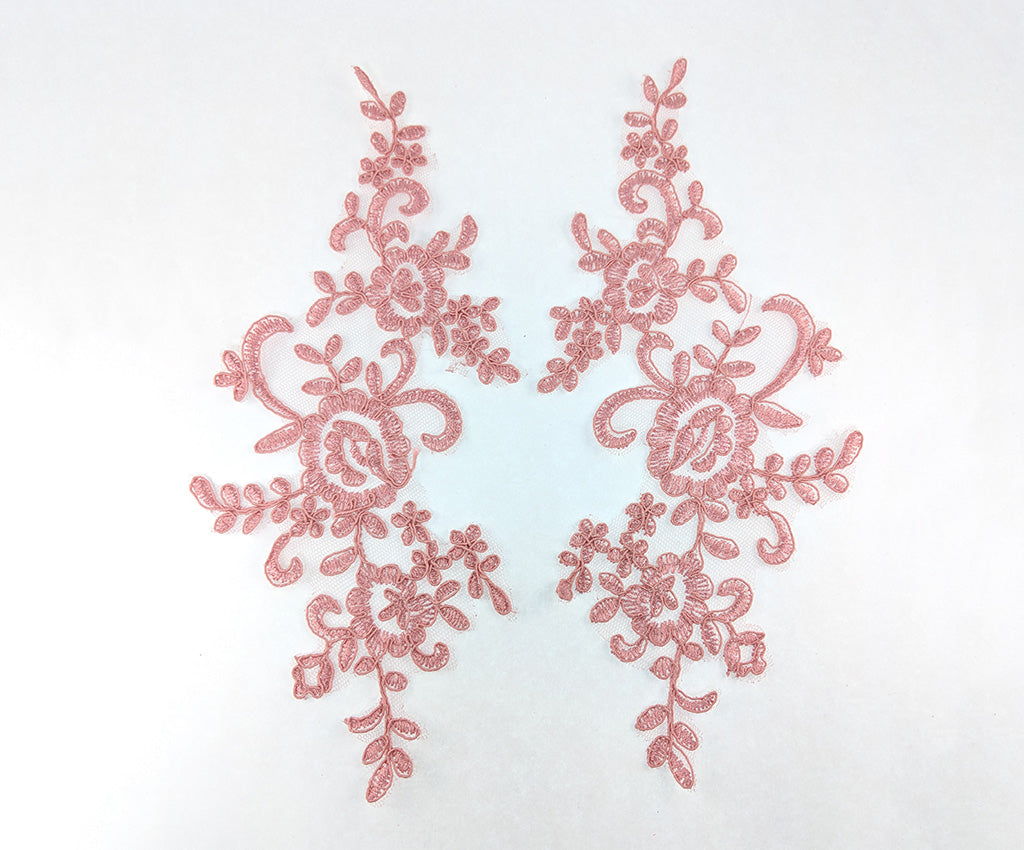 Corded Floral Applique on Mesh - Pairs