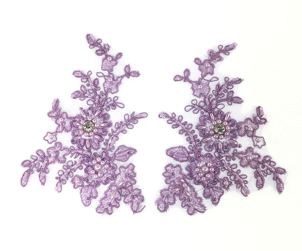 Lilac Corded Pearl Beaded Applique - Pairs