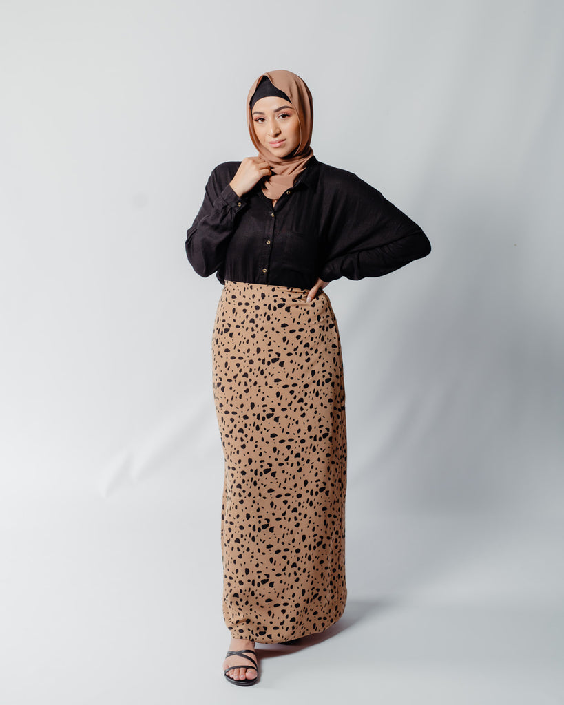Leopard High Rise Maxi Skirt