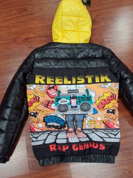 REELISTIK 'SPIT BARS' PUFFER JACKET (YELLOW/BLACK)
