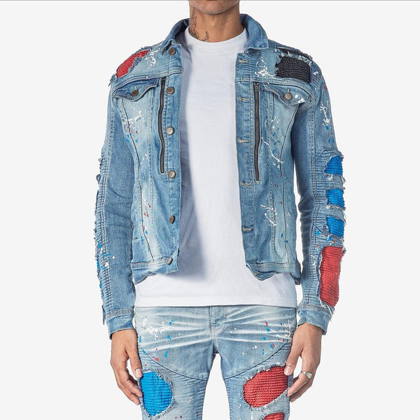 DENIM JACKET W/ BIKER RIP & REPAIR