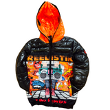 REELISTIK 'SPIT BARS' PUFFER JACKET (BLACK/ORANGE)