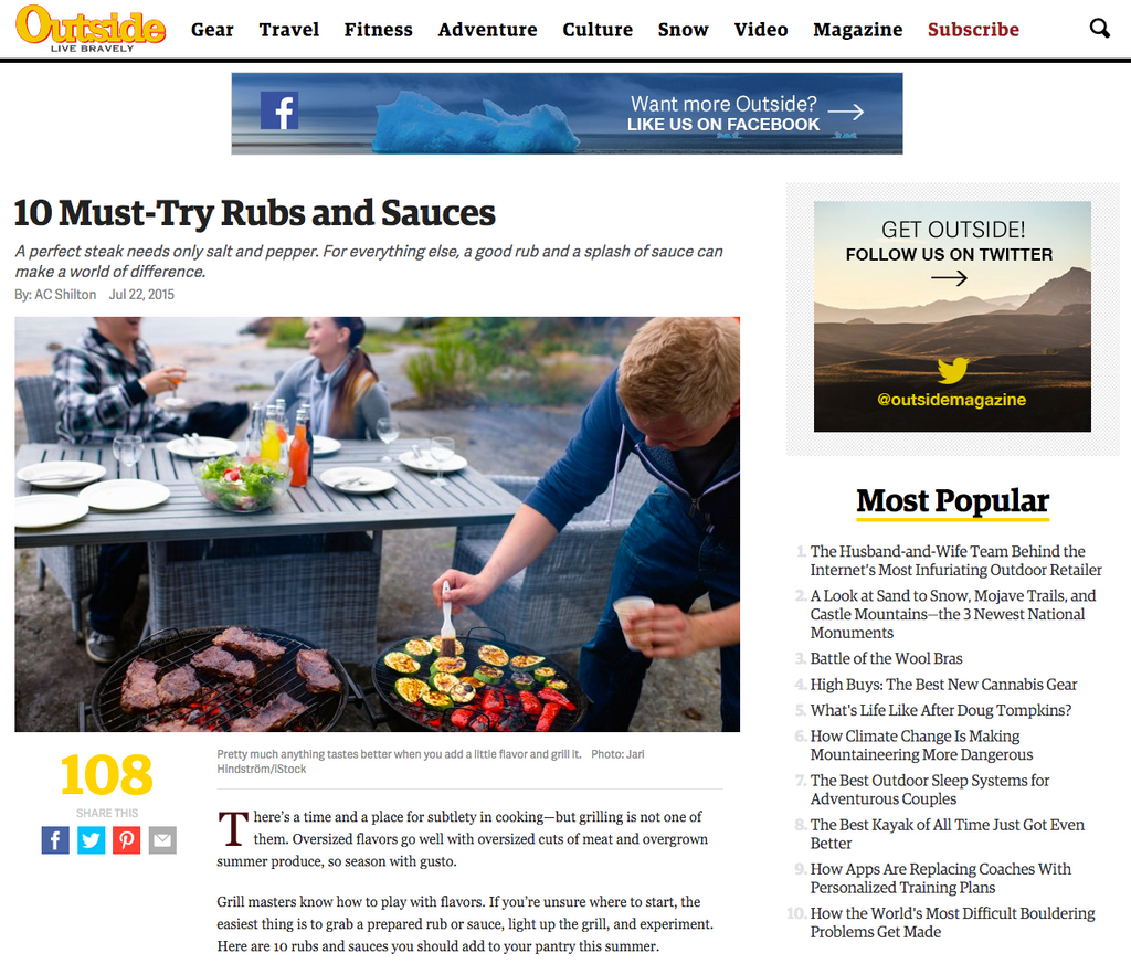 Outside Magazine 10 Must Try Rubs & Sauces | spiceologist.com