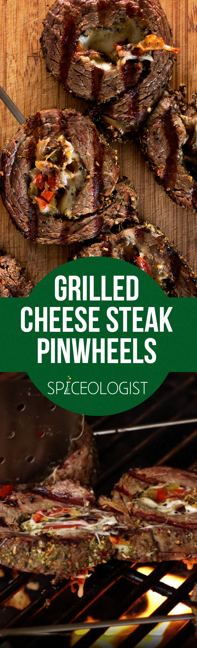 Grilled Cheese Steak Pinwheels | spiceologist.com