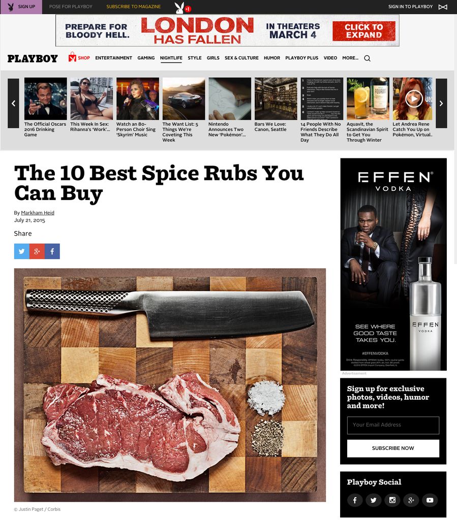 Spiceologist Rubs Featured on Playboy.com