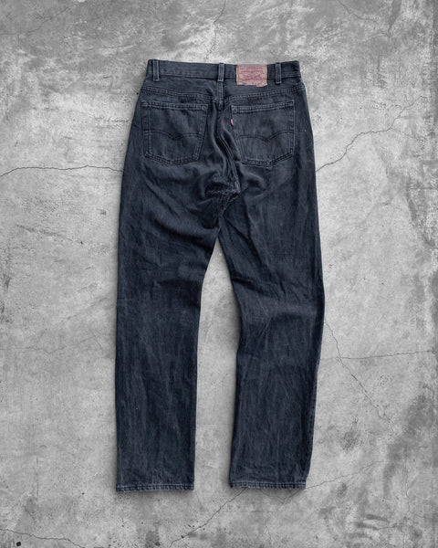 Levi's 501 Black Faded Repaired Jeans - 1990s