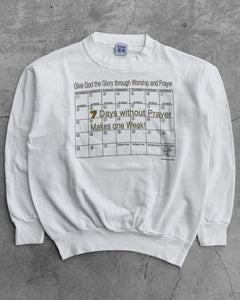 """7 Days Without Prayer…"" Crewneck  Sweater - 1990s"