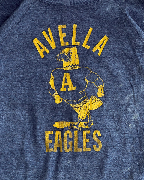 "Navy Blue ""Avella Eagles"" Raglan Sweatshirt - 1980s"