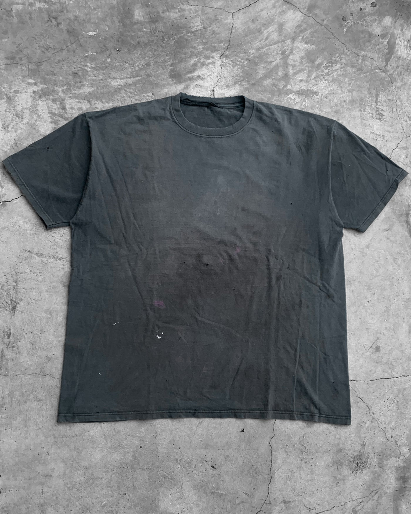 Distressed Faded Black Stained Blank Tee