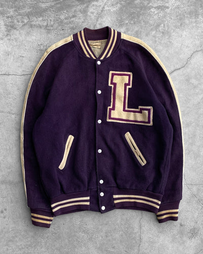 Purple L Varsity Jacket - 1980s