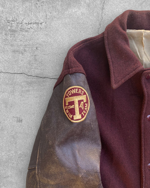 "Oxblood ""Towers Swim Team"" Varsity Jacket - 1960s"