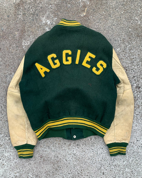 "Forest Green ""AGGIES"" Varsity Jacket - 1970s"