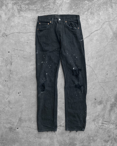 Levi's 501 Black Distressed Painted Jeans - 1990s