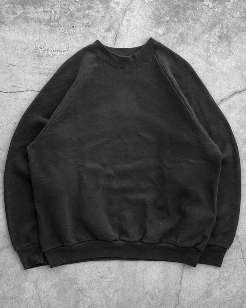 Fruit of The Loom Black Blank Raglan Sweatshirt - 1990s