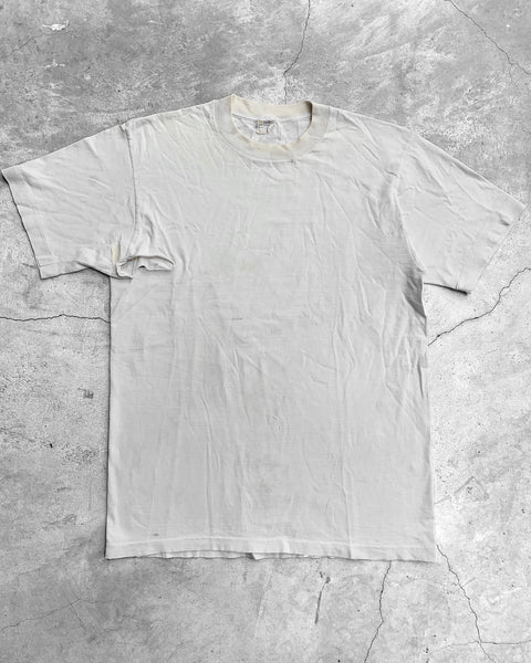 Single Stitched Distressed White Tee - 1980s