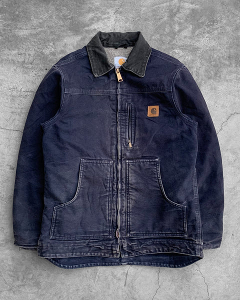 Carhartt Youth's Sun Faded Navy Work Jacket - 1990s