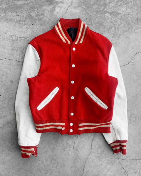"""Benilde"" Leather Sleeve Varsity Jacket - 1980s"