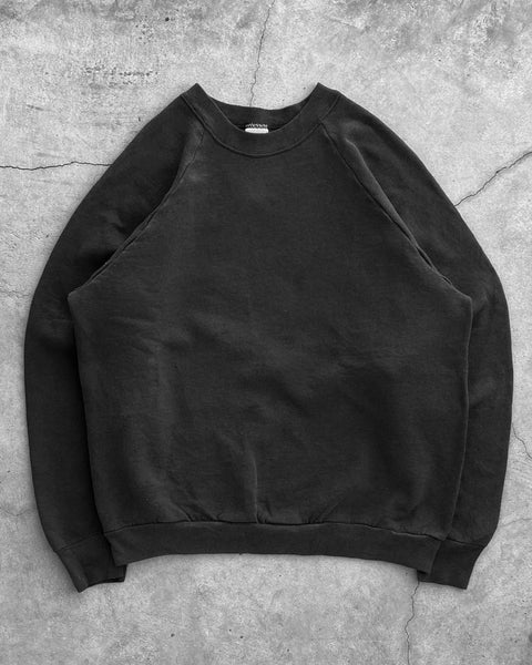 Fruit of The Loom Black Raglan Sweatshirt - 1990s