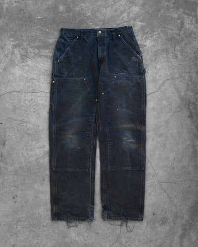 Carhartt Faded Black Distressed Double Knee Work Pant - 1990s
