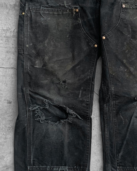 Carhartt Black Thrashed Double Knee Work Pant - 1990s